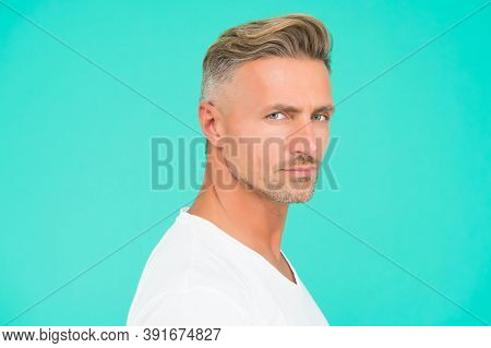 Perfect Style. Good Looking Guy With Bristle On Face. Facial Hair Care. Male Grooming Fashion. Barbe