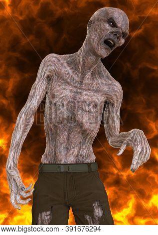 Fantsy Zombie Undead Burns In A Hellfire 3d Illustration