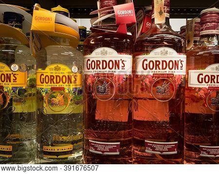 Belgrade, Serbia - September 27, 2020: Gordon's Gin Logo On Bottles For Sale. Gordons Is A British B