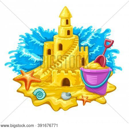 Sand fairy-tale castle with high towers window and stairs. Isolated on white background. 3D illustration.