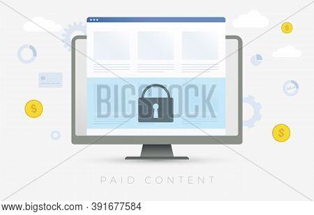 Paid Content Vector Illustration. Online Internet Information Such As Text On The News Media, Video,