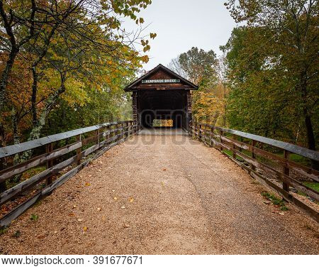 Humpback Covered Bridge In Alleghany County, Covington, Virginia Is The Oldest Covered Bridge In The