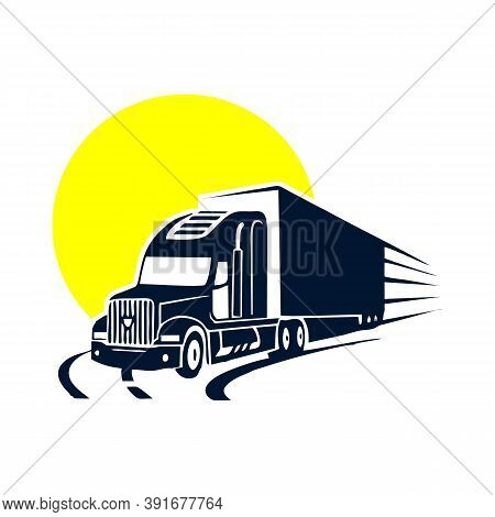 On Road Truck Logo Design Heavy Vector Image, Illustration Vector Design, Easy To Edit Vector Design