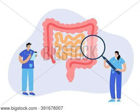 Intestine Logo For Gastrointestinal Clinic. Bowel, Appendix, Rectum And Colon Anatomy. Doctor Appoin