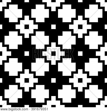 Seamless Pattern With Inca Crosses Ornament. Ethnic Embroidery Background. Tribal Wallpaper. Ethnica