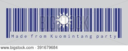 Barcode Set The Color Of Kuomintang Flag. A White Sun With Twelve Rays On Blue Background. Concept O