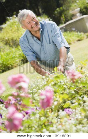 Senior Man in einem blühenden Garten