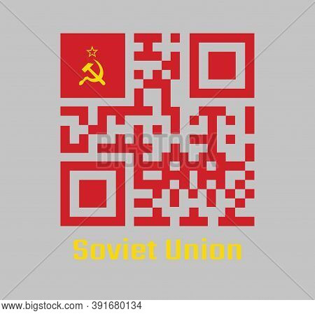 Qr Code Set Color Of Soviet Union Flag, A Plain Red Flag With A Golden Hammer And Sickle With Red St