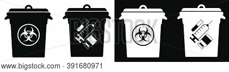 Trash Cans With Hazardous Waste Signs. Disposal Of Hazardous Materials, Processing Of Industrial Was