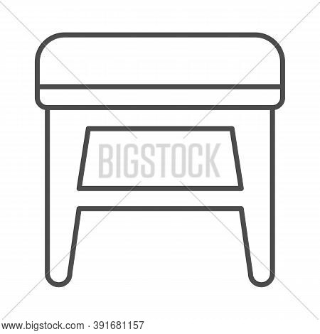 Stool Thin Line Icon, Furniture Concept, Soft Backless Seat Sign On White Background, Stool With Fou
