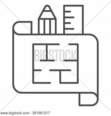 House Plan On Paper With Ruler And Pencil Thin Line Icon, Interior Design Concept, Architecture Hous