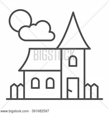 Abandoned Old House Thin Line Icon, Halloween Concept, House At Full Moon Sign On White Background,