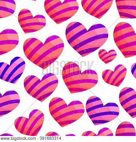Cute Striped Hearts Romantic Vector Seamless Pattern. Red Hearts With Blue, Violet And Pink Stripes