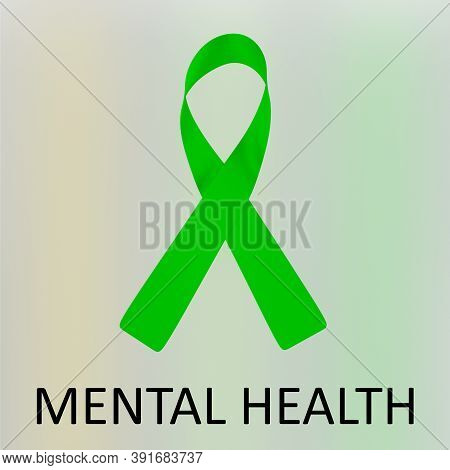 3d Illustration Mental Health Script Below An Awareness Ribbon Of Mental Health, Isolated Over Color