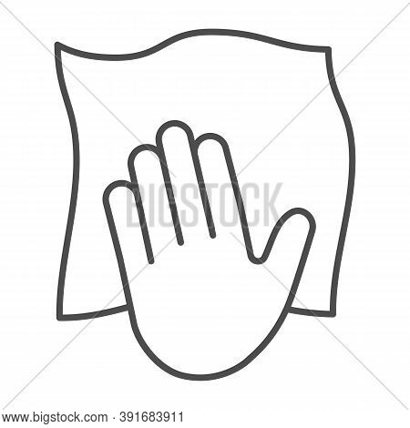 Hand With Cleaning Napkin Thin Line Icon, Cleaning Service Concept, Surface Wiping With Absorbent Ti