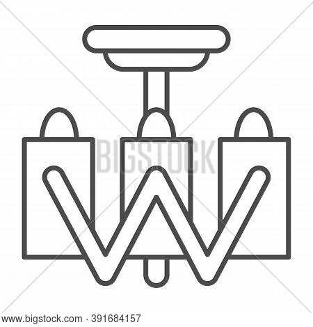 Chandelier Thin Line Icon, Furniture Concept, Modern Ceiling Lamp Sign On White Background, Decorati