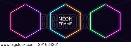 Neon Hexagon Frame. Set Of Hexagonal Neon Border In 2 Outline Parts. Geometric Shape With Copy Space