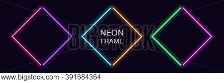 Neon Rhomb Frame. Set Of Rhombus Neon Border In 2 Angular Parts. Geometric Shape With Copy Space, Fu
