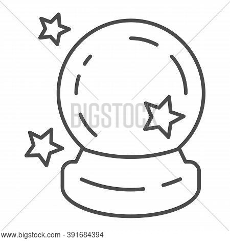 Crystal Ball Thin Line Icon, Halloween Concept, Magic Ball For Predictions Sign On White Background,