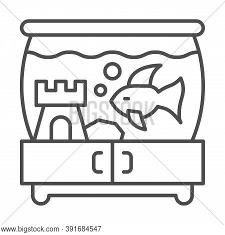 Aquarium With Fish And Castle On Pedestal Thin Line Icon, Pets Concept, Tank Of Water With Fish Sign
