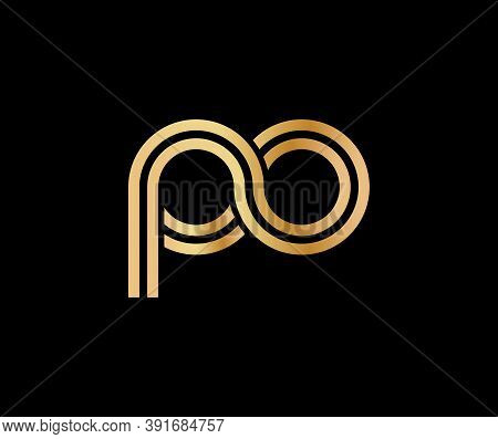 Lowercase Letters P And O. Flat Bound Design In A Golden Hue For A Logo, Brand, Or Logo. Vector Illu