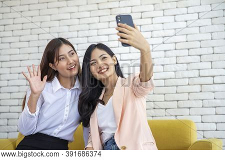 Happy Beautiful Young Asian Woman Friendship Selfie Together , Happiness Teenagers Taking Pictures S