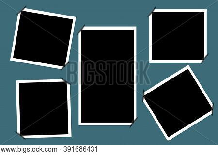 Vector Set Of Photo Pictures. Black Retro Photo In White Frames. Collection Of Pictures. Stock Image