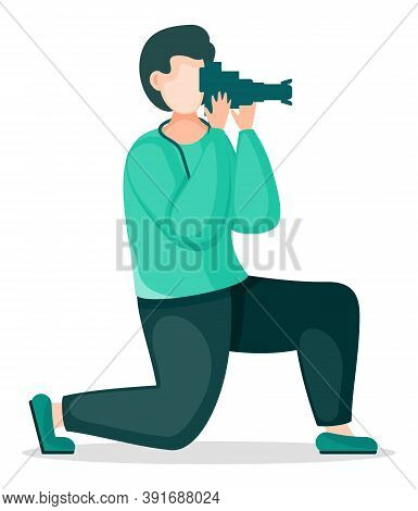Amateur Photographer Taking Photo With Reflex Camera. Stylish Man Using Professional Equipment. Phot