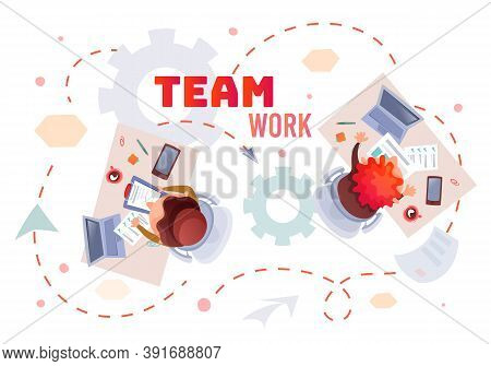 Office Table Topview Illustration Of Woman And Man Working In Team In Office. Teamwork Concept. Cup