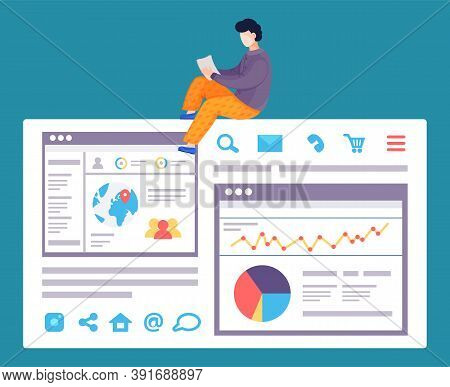 Worker Making Web Analytics, Analysing Charts, Diagram, Statistic Of Site Using. Co-worker, Coder, P