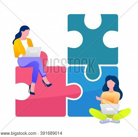 Two Businesswomen Solving Business Problems. Working In Team, Communicating With Each Other. Connect