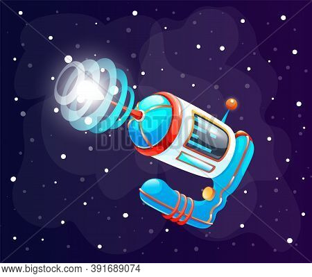Colorful Spaceship Or Satellite In Space. Concept Of Space Icon For Computer Game. Space Elements. G