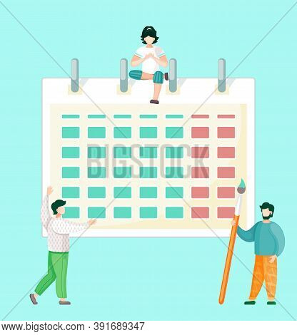Businesspeople Are Communicating In Office. Office Characters Near Calendar Are Discussing A New Pro