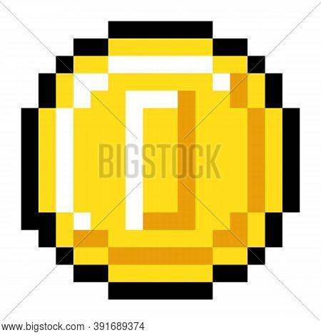 Pixel Art Style Isolated Vector Coin For Retro Video Game. Shiner Golden Coin, Pixel Money Sketch. C