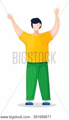 Flat Vector Illustration Of Young Guy In Yellow T-shirt And Green Striped Pants, Blue Shoes. Guy Hol