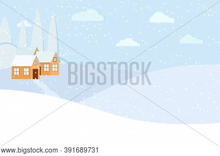 Winter Landscape Scene With Houses And Road. Snowy Winter Day Time Background. Rural Meadow And Farm