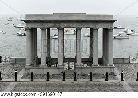 Plymouth, Massachusetts - July 3, 2020: The Famous Plymouth Rock, The Traditional Site Of Disembarka
