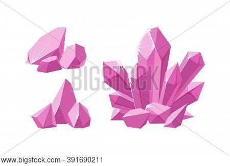 Crystals And Pink Prescious Pieces Of Rock. Set Of Pink Stalagmite And Broken Crystals. Amethyst Gem