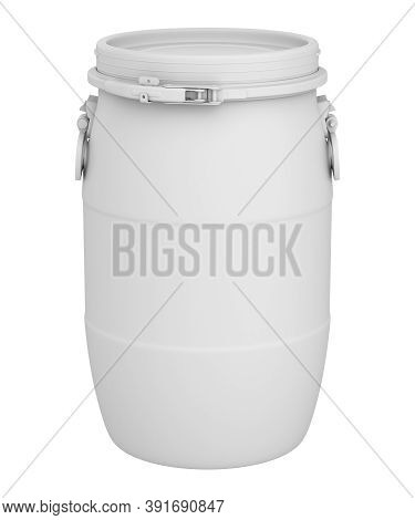 Clay Render Of Plastic Barrel Isolated On White Background - 3d Illustration