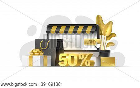 Set Of 3D Objects For Online Store, Sale Banner, Discount Shop, Flyer, Social Media, Mobile App, Web