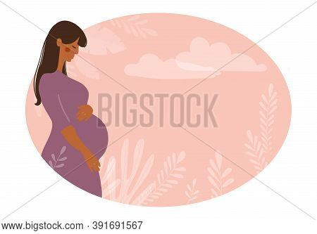 Modern Banner About Pregnancy And Motherhood. Poster With A Beautiful Young Pregnant Woman With Long