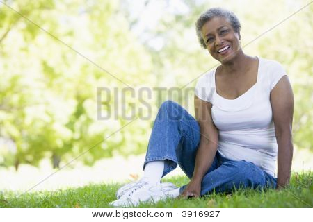 Senior Woman Resting In A Park