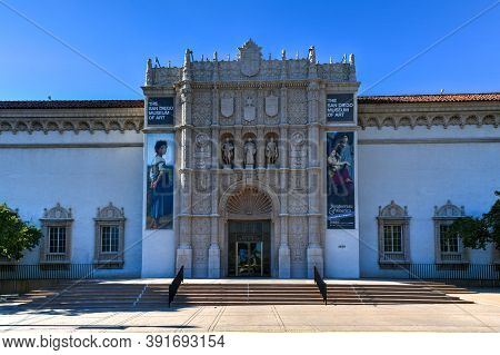 San Diego, Ca - Jul 19, 2020: The San Diego Museum Of Art In The Beautiful And Historical Balboa Par