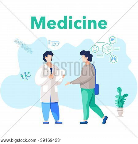 A Patient Being Treated By An Expert Physician In Hospital Room. The Doctor Prescribes Treatment. A