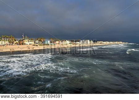 San Diego - July 21, 2020: Beachgoers In Imperial Beach, Near San Diego, California