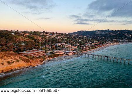 Aerial View Of Scripps Coastal Reserve In La Jolla, California At Sunset.
