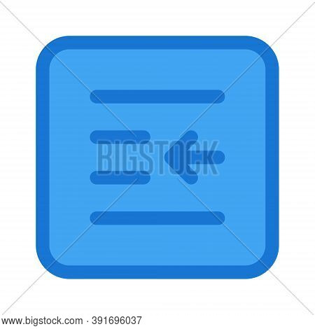 Decrease Paragraph Indent Icon - Vector Illustration. Text Editor Text Alignment Sign.