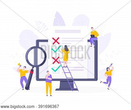 Online Survey Form Or Exam Application On The Monitor Screen, Claim Form, Clipboard And Tiny People