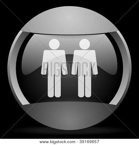 couple round gray web icon on black background