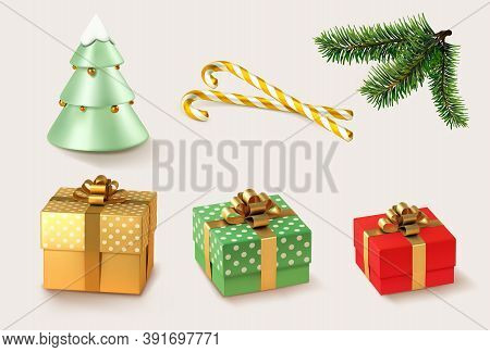 Christmas Golden And Red Gifts With Christmas Caramel And Christmas Tree And Branches. 3d Realistic